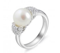 9mm Pearl Gemstone Engagement Ring on Silver