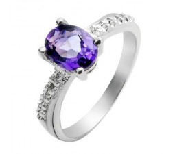 0.25 Carat Amethyst Gemstone Engagement Ring on Silver