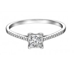 Affordable PRincess Diamond Engagement Ring on 10k White Gold