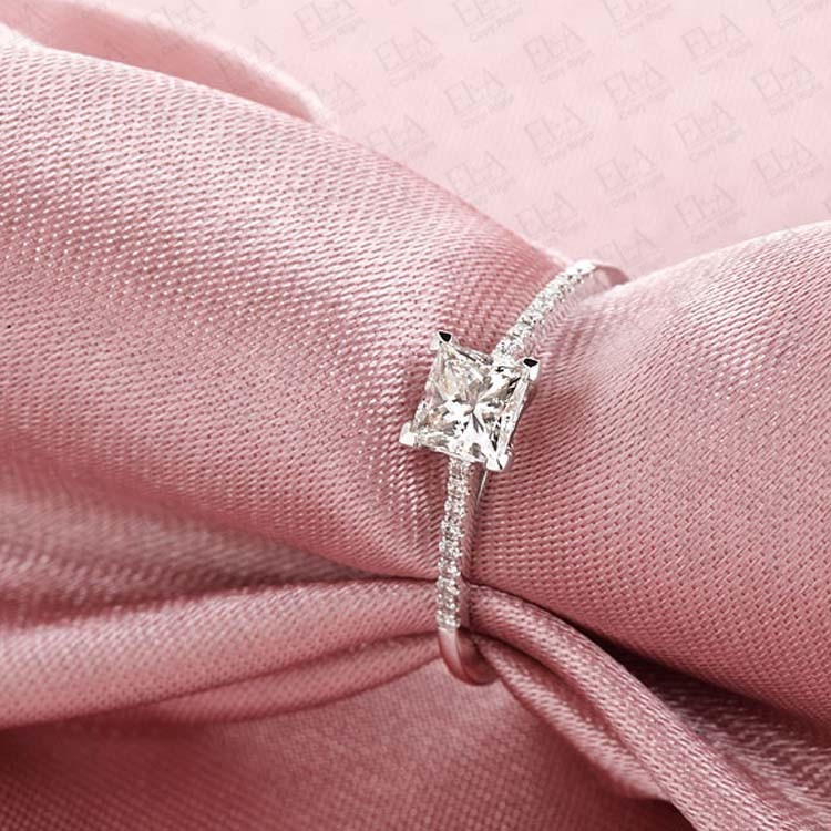 Princess Diamond Engagement Ring on 9ct White Gold on Sale JeenJewels