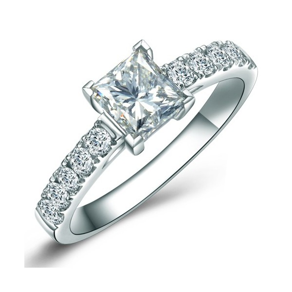 100 Carat Princess Cut Diamond Engagement Ring on Sale JeenJewels
