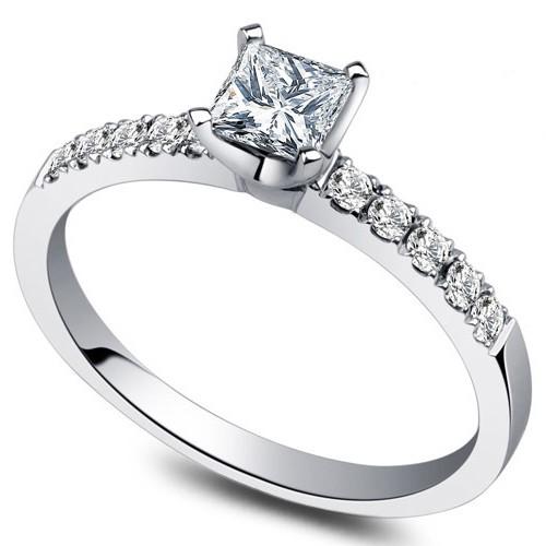 Inexpensive 050 Carat Princess Diamond Engagement Ring On 9ct White Gold