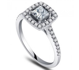 Princess cut Diamond Engagement Ring on 10k White Gold
