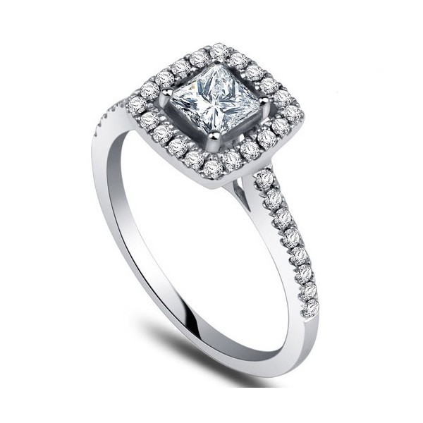 Diamond Engagement Ring with 1 2 Carat Princess Cut Diamonds on 9ct White Gol
