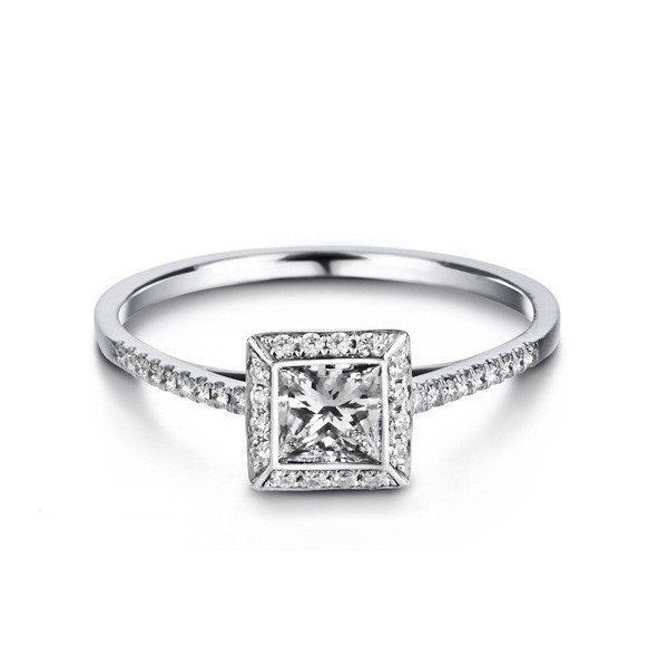 Affordable Princess cut Diamond Engagement Ring on 9ct White Gold on
