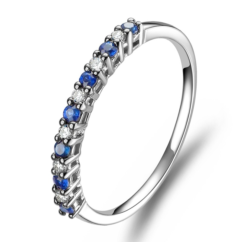 blue sapphire gold bezel princess wedding diamond in set round white pin eternity band bands