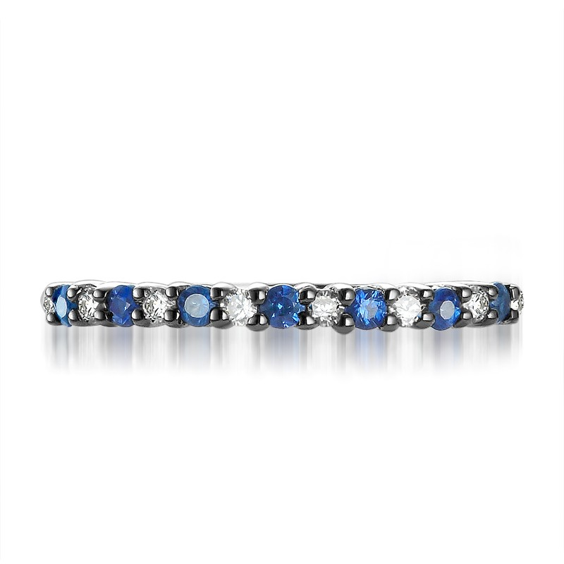 Affordable Diamond and Sapphire Wedding Band on 10k White Gold JeenJewels