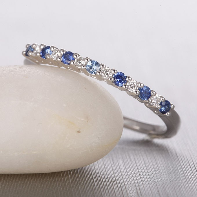affordable diamond and sapphire wedding band on 10k white gold - Sapphire Wedding Ring