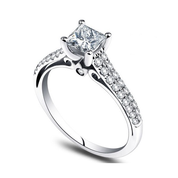 Stunning 1 00 carat princess cut diamond engagement ring jeenjewels