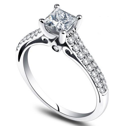 Stunning 1 00 Carat Princess cut Diamond Engagement Ring JeenJewels