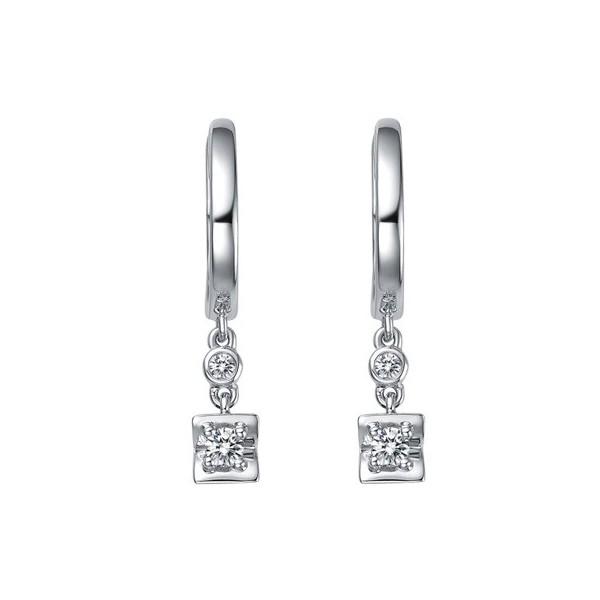 Dangling Earrings 18k White Gold 1 Carat Diamond