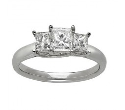 Three Stone Princess Cut Diamond Engagement Ring on Closeout Sale