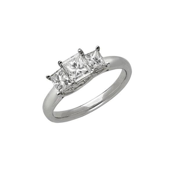 Exquisite Three Stone Trilogy Diamond Wedding Ring 0.25