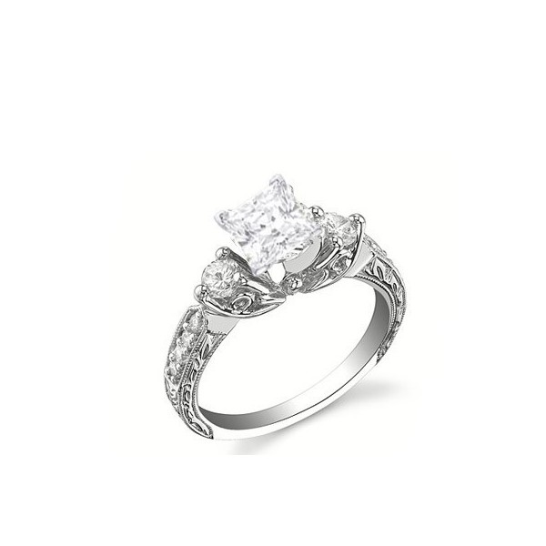 antique style stunning princess cut engagement