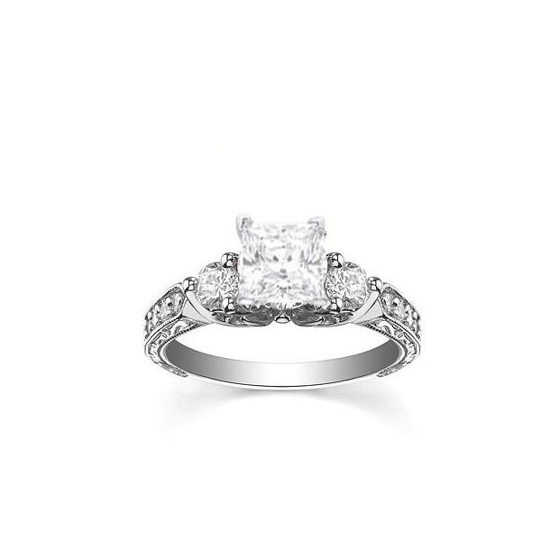 antique style stunning princess cut engagement