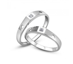 Princess cut diamond Couple Rings Wedding bands