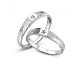 Princess cut diamond Couple Rings Wedding bands