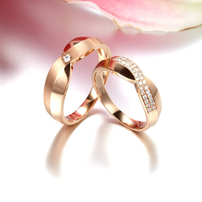 Handcrafted Marriage Rings Half Carat Diamond on 18k Gold JeenJewels