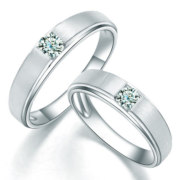 satin finish couples diamond wedding ring bands - Wedding Ring Diamond