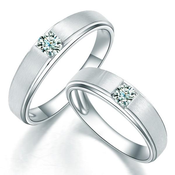 Satin Finish Couples Diamond Wedding Ring Bands