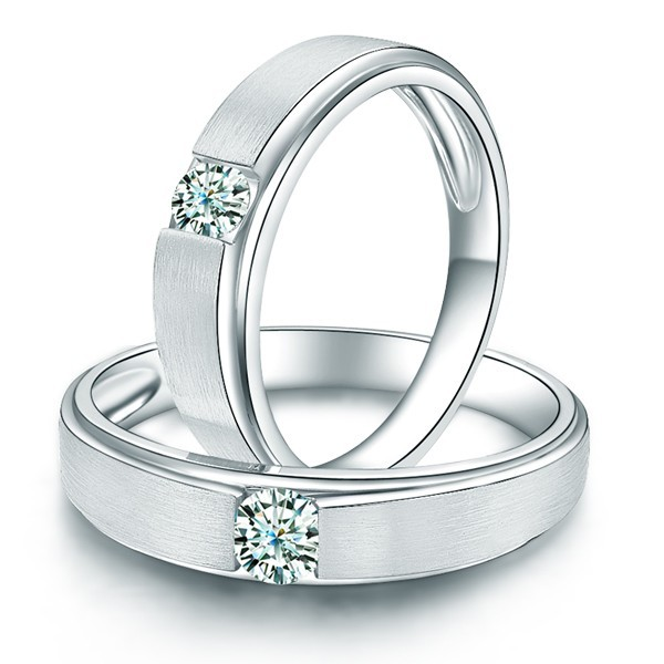Charming His And Hers Anniversary Gift Rings 020 Carat Diamond On Gold