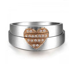 Luxurious and Unique, Couples Heart Wedding Band Rings
