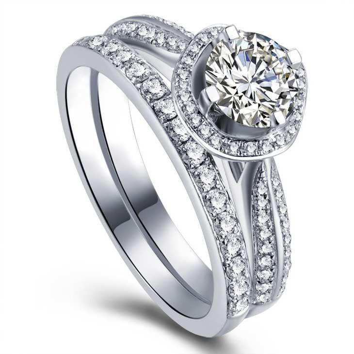 Gia certified diamond bridal set wedding set on 9ct white for 9ct gold wedding ring sets