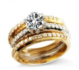 1.5 Carat Trio Wedding Ring Set on Sale