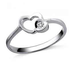 Heart Diamond Promise Ring on 10k White Gold