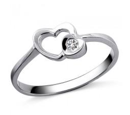 Heart Diamond Promise Ring on 10k White Gold