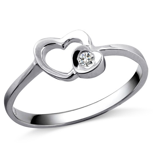 Heart Diamond Promise Ring on 9ct White Gold JeenJewels