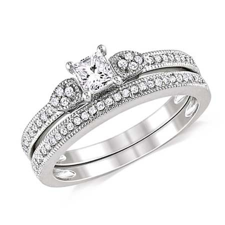 Diamond Wedding Ring Set on JeenJewels