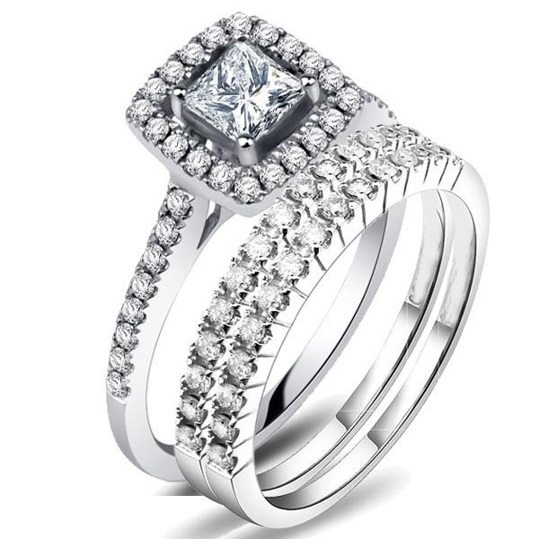 ceee341639dc21 2 Carat Princess cut Diamond Trio Bridal Set on Closeout Sale on 10K White  Gold.