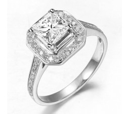 1 Carat Princess Diamond Halo Engagement Ring