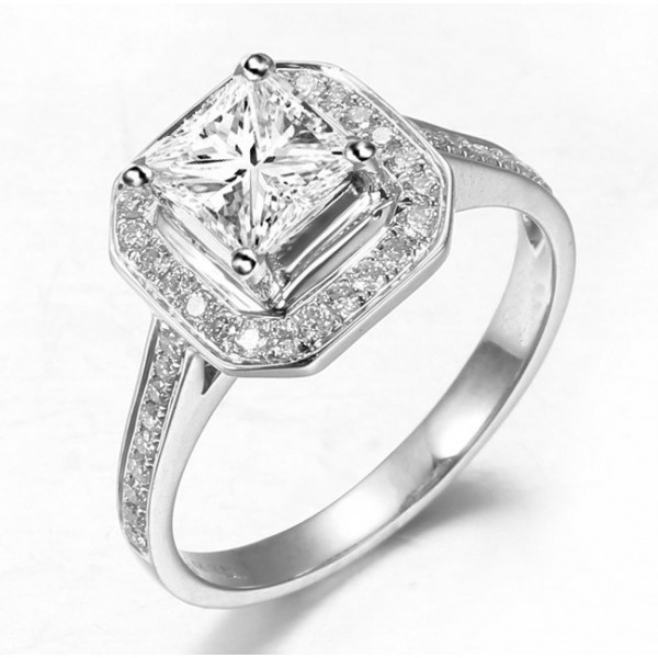 Huge 1 Carat Diamond Halo Engagement Ring With Princess Cut Diamond JeenJewels