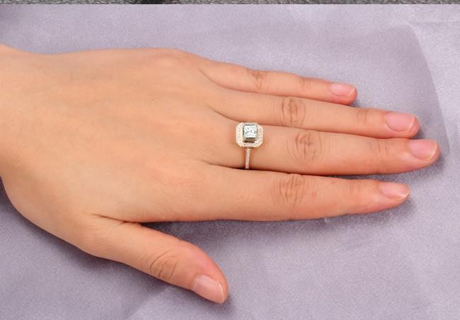 lovely halo wedding ring 1 00 carat princess cut diamond