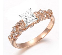 Beautiful 1 Carat Princess Diamond Engagement Ring on 18k Rose Gold