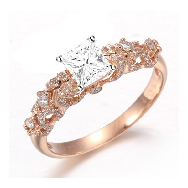 attractive diamond engagement ring 100 carat princess cut diamond on 18k rose gold - Gold Diamond Wedding Rings
