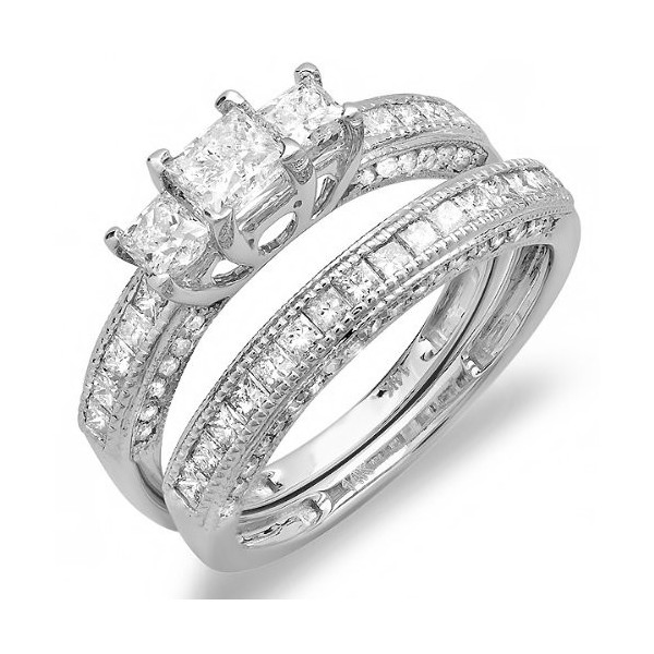 antique princess cut wedding ring set on - Princess Cut Wedding Ring Sets
