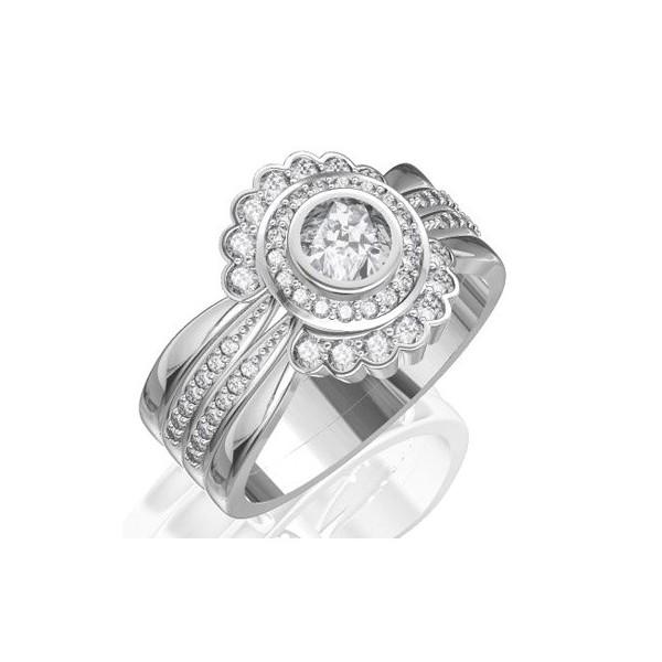 JeenJewels.com 1.00 CaratRound Cut DiamondTrio Bridal Set on 18 K White Gold at Sears.com