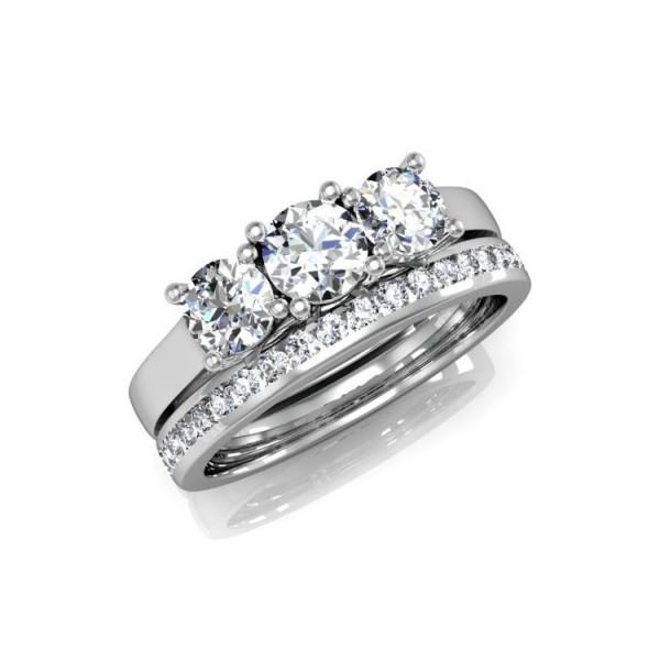 Brilliant Three Stone 2 Carat Diamond Bridal Set JeenJewels