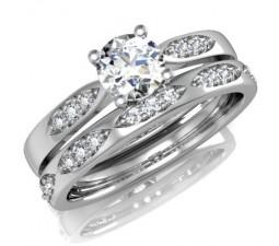 GIA Certified Diamond Bridal Set on 18k White Gold