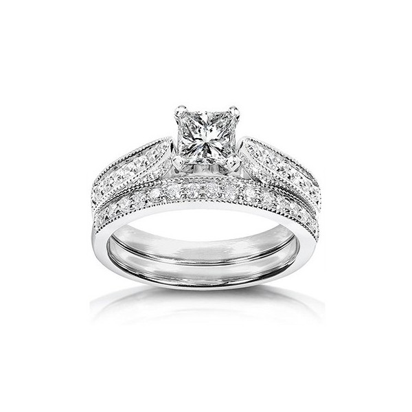 inexpensive antique diamond wedding ring set on 10k white gold - Engagement Wedding Ring Set