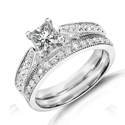 inexpensive antique diamond wedding ring set on 10k white gold - White Gold Wedding Rings Sets
