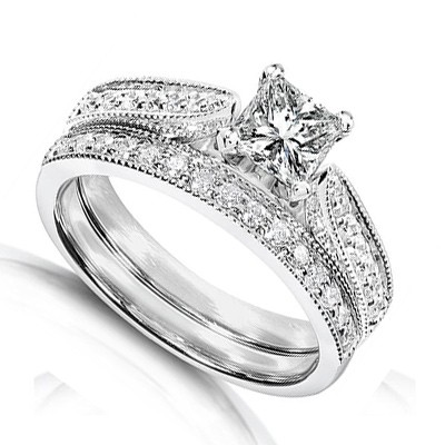 Inexpensive Antique Diamond Wedding Ring Set On 10k White Gold
