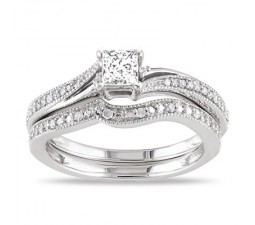 Inexpensive Antique Diamond Bridal Set on 10k White Gold