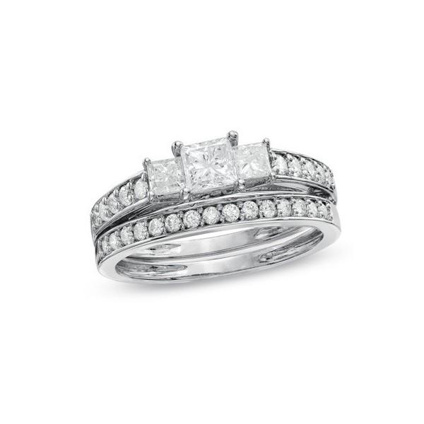 Diamond Three Stone Wedding Ring Set on