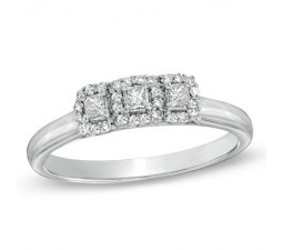 1 Carat Three Stone Halo Style Diamond Engagement Ring