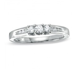 Inexpensive 1/2 Carat Three Stone Round Diamond Engagement Ring