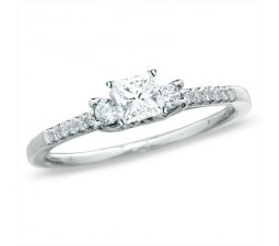 Inexpensive Three Stone Princess and Round Diamond Engagement Ring